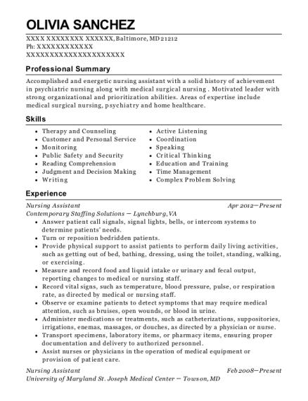 Best Geriatric Nursing Assistant Resumes | ResumeHelp
