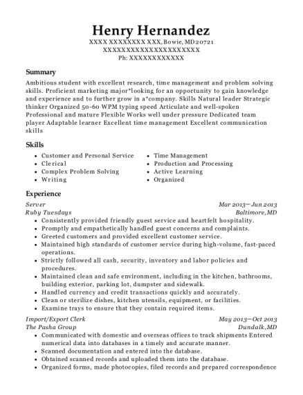 The Pasha Group Import/export Clerk Resume Sample - Bowie Maryland ...
