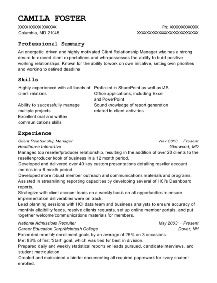 Best Client Relationship Manager Resumes | ResumeHelp
