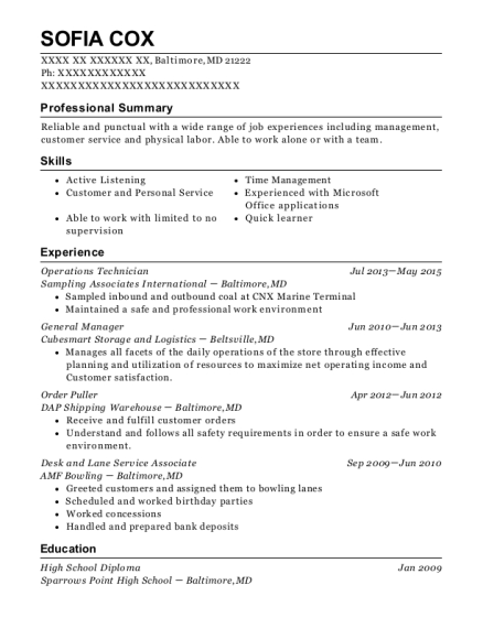 View Resume. Operations Technician