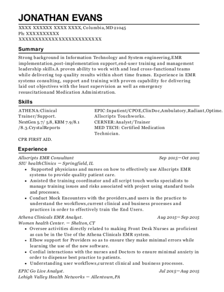 View Resume. Allscripts EMR Consultant