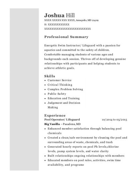 joshua hill - Swim Instructor Resume