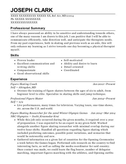 Amazing View Resume. Figure Skating Coach