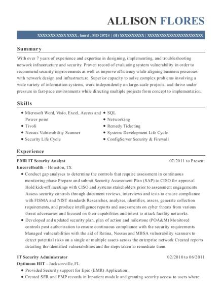 encorehealth emr it security analyst resume sample
