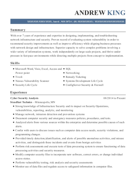 view resume cyber security analysts - Cyber Security Analyst Resume