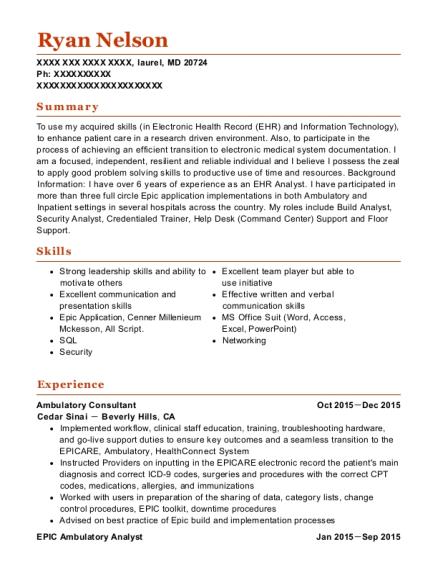 cedar sinai ambulatory consultant resume sample