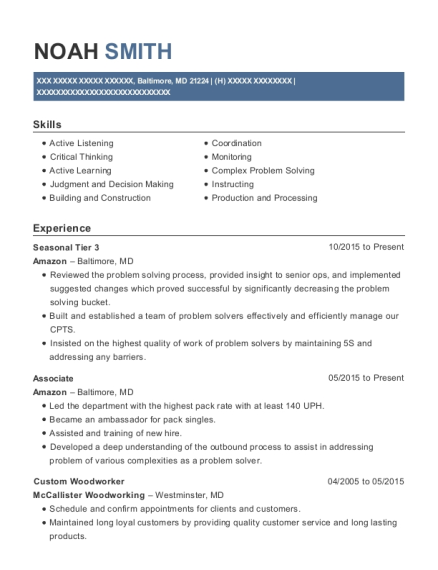 amazon seasonal tier 3 resume sample baltimore maryland resumehelp