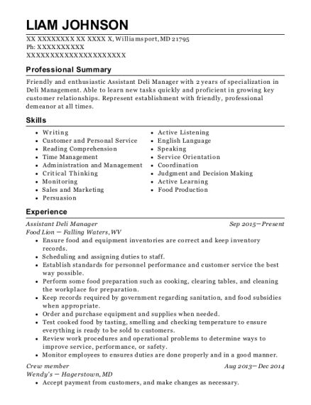 Best Assistant Deli Manager Resumes