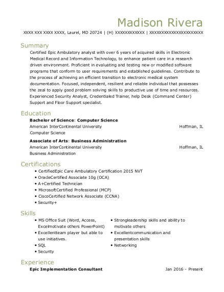 Epic Ambulatory Analyst Resume