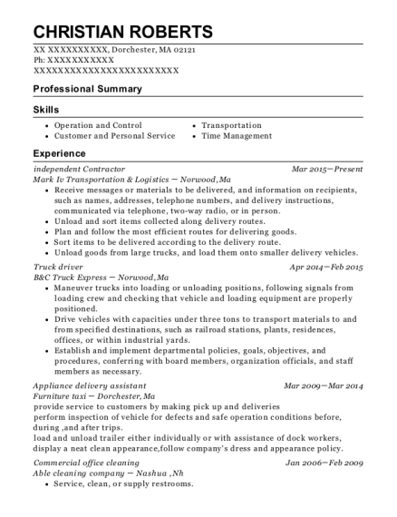 resume for self employed contractor