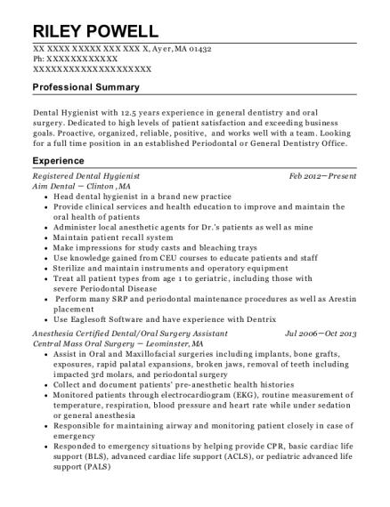 View Resume. Registered Dental Hygienist