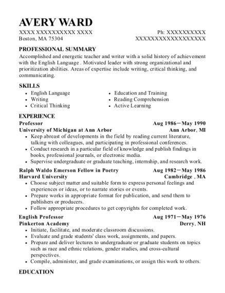 Best English Professor Resumes