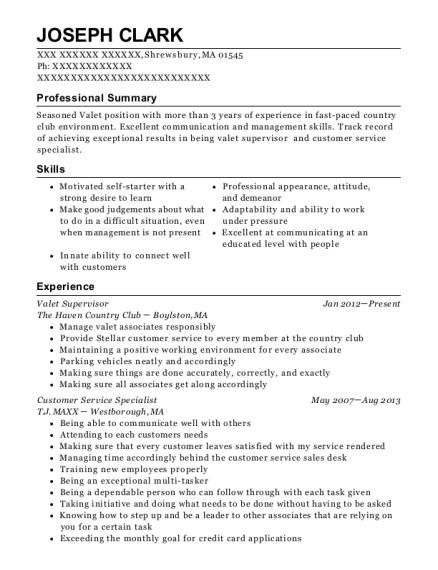 best valet supervisor resumes resumehelp