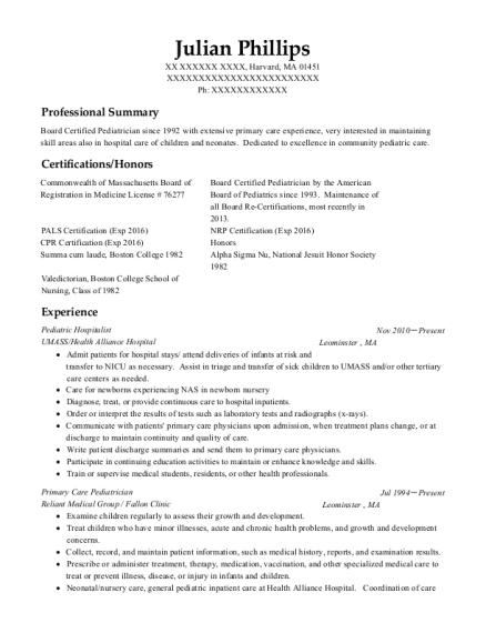 pediatrician resume samples