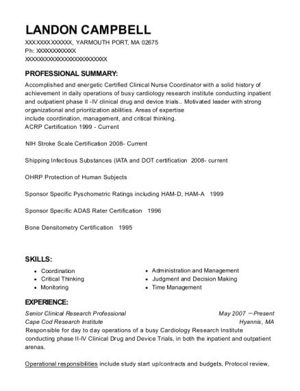 Best Senior Clinical Research Professional Resumes   ResumeHelp