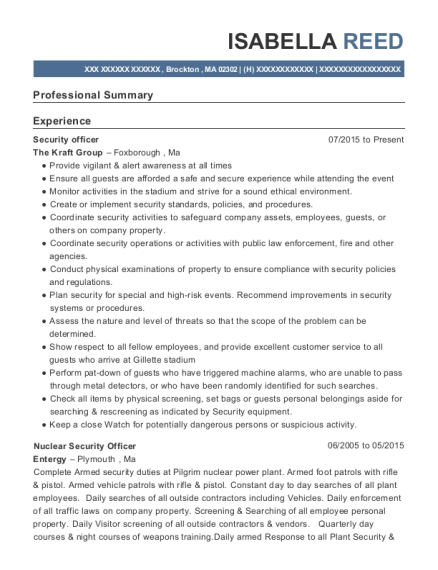 g4s security nuclear security officer resume sample sodus new - Nuclear Security Guard Sample Resume