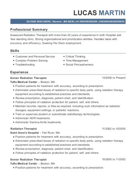 tufts medical center senior radiation therapist resume sample