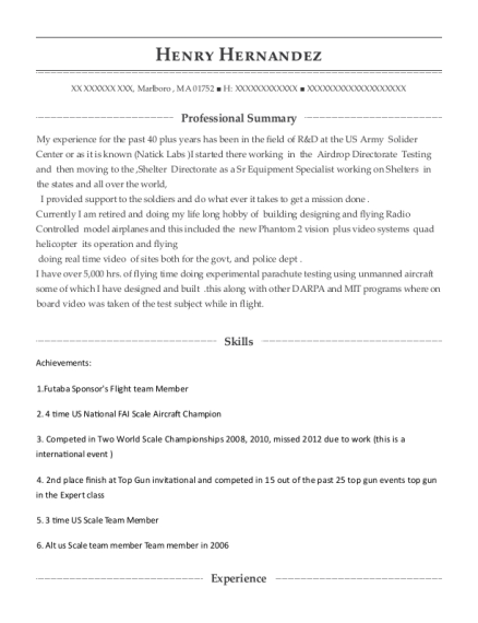 View Resume. Sr. Equipment Specialist