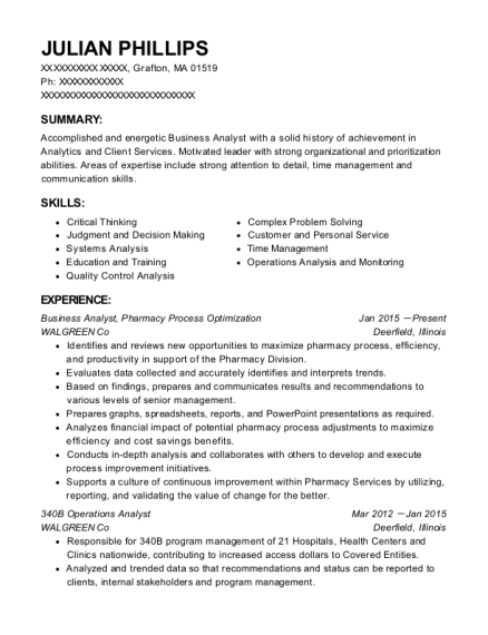 Julian Phillips  Operations Analyst Resume