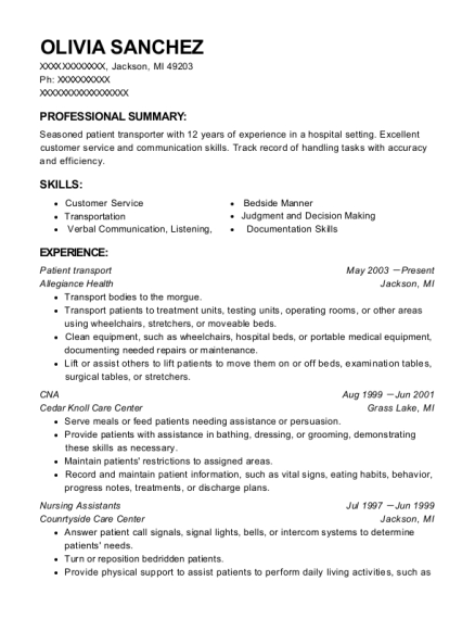Olivia Sanchez  Transportation Resume