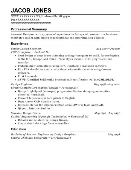 induction technology corporation design engineer resume