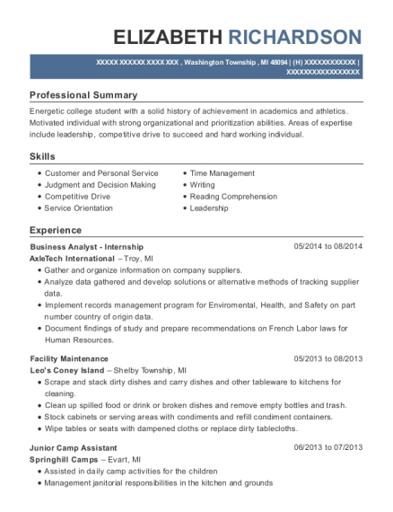 Axletech International Business Analyst Internship Resume Sample