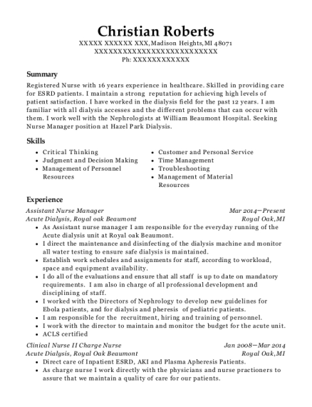 Clinical Assistant Nurse Manager Registered Customize Resume View
