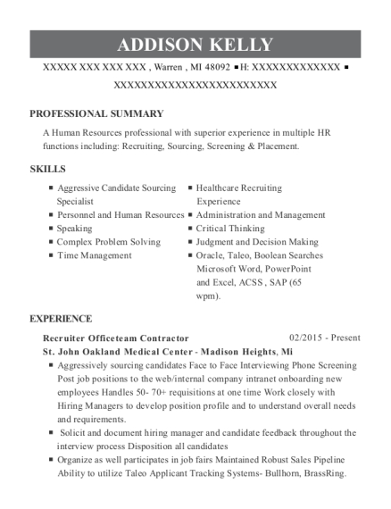 View Resume. Recruiter Officeteam Contractor