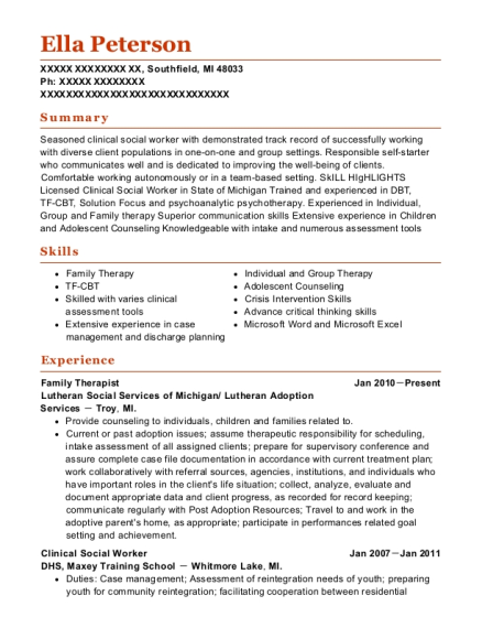 View Resume. Family Therapist
