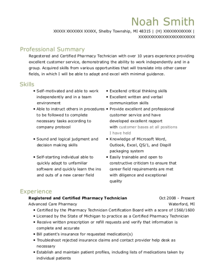 View Resume. Registered And Certified Pharmacy Technician