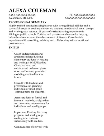 best reading recovery teacher resumes resumehelp