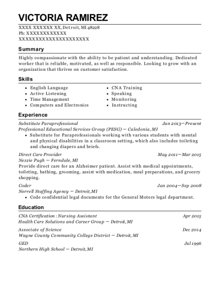 paraprofessional resumes