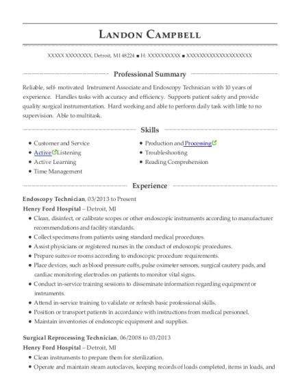best endoscopy technician resumes resumehelp