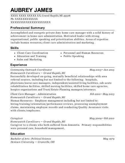 Aubrey James  Outreach Coordinator Resume