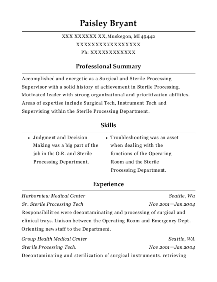 harborview medical center sr sterile processing tech resume sample