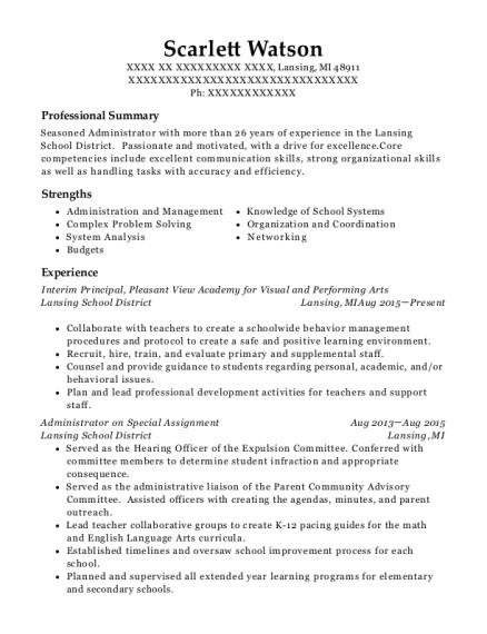 best interim principal resumes resumehelp