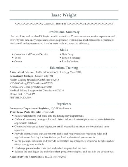 providence park hospital emergency department registrar resume