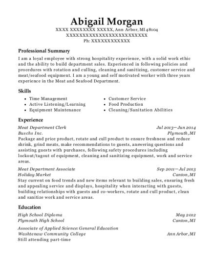 hy vee meat department clerk resume sample