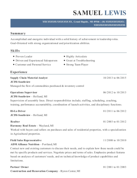 view resume supply chain material analyst
