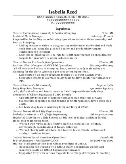 Best Technical Assistant To Vp Of Mfg Engineering Resumes | ResumeHelp