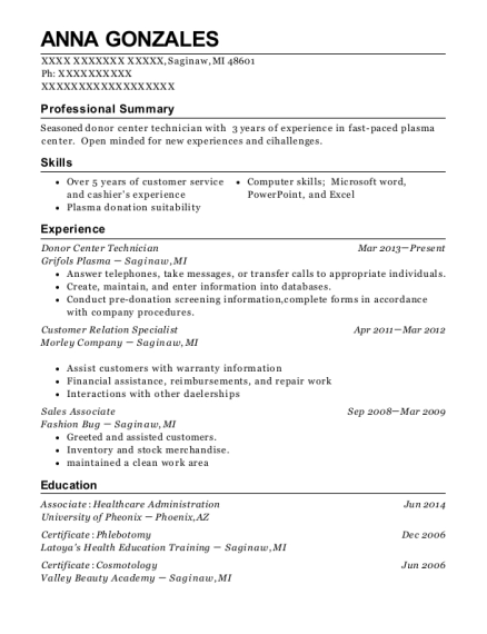Donor Center Technician , Cashier. Customize Resume · View Resume
