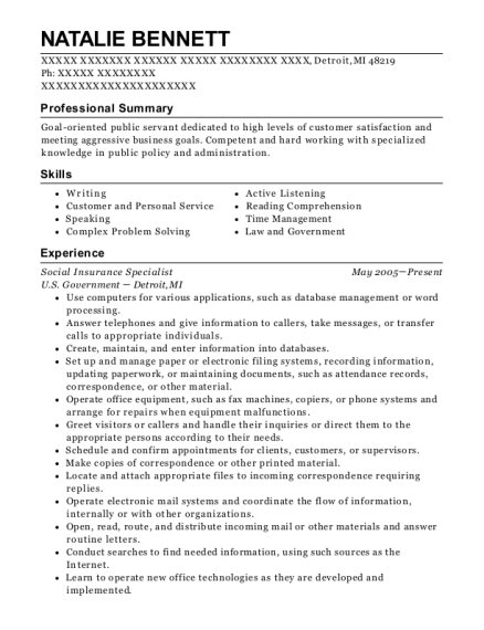 insurance specialist resume