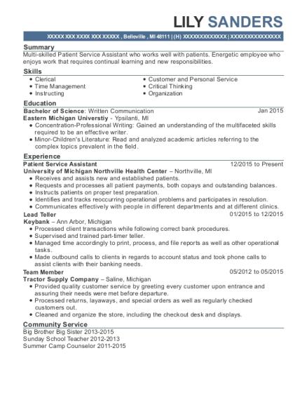 patient services assistant resume