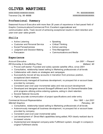 Oliver Martinez  Account Representative Resume