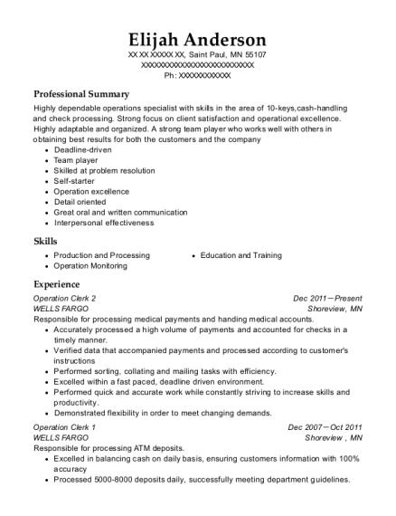 view resume operation clerk 2 - Operations Clerk Sample Resume
