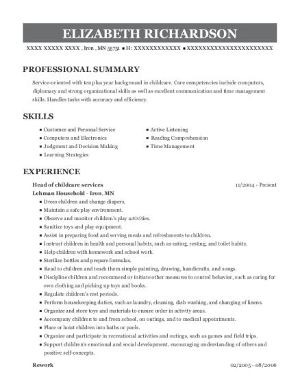 elizabeth richardson - Janitor Resume