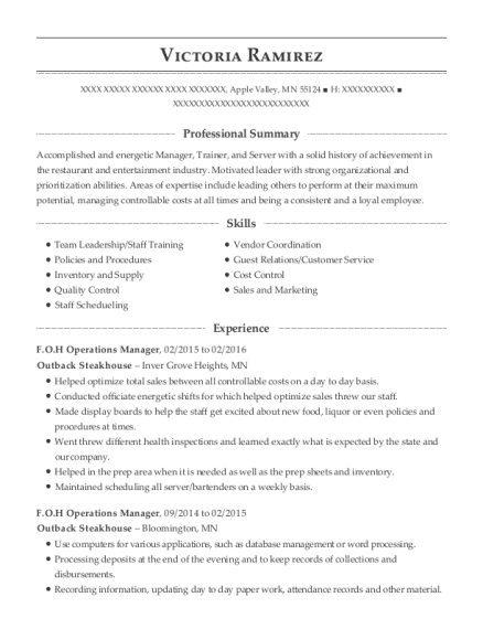 Best Foh Operations Manager Resumes | ResumeHelp