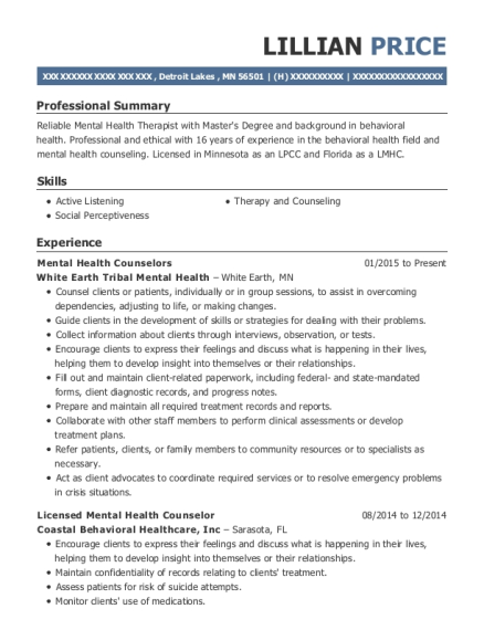 best licensed mental health counselor resumes resumehelp