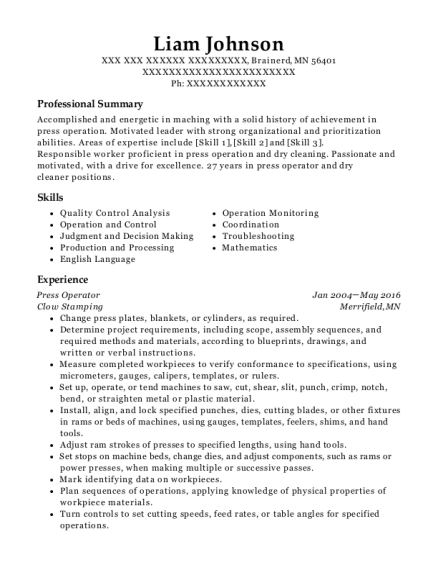 View Resume. Press Operator  Machine Operator Resume