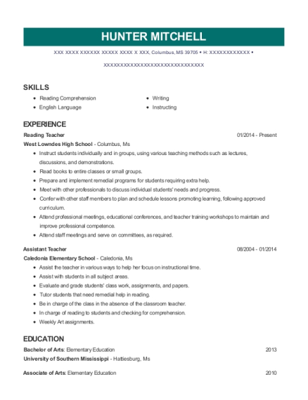 View Resume. Reading Teacher